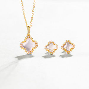 Four-leaf clover Rose Quartz Pendant/Stud earrings